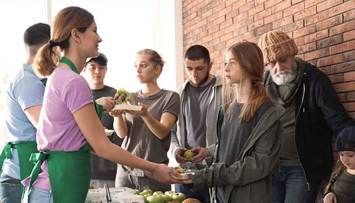 Volunteers working at a food kitchen