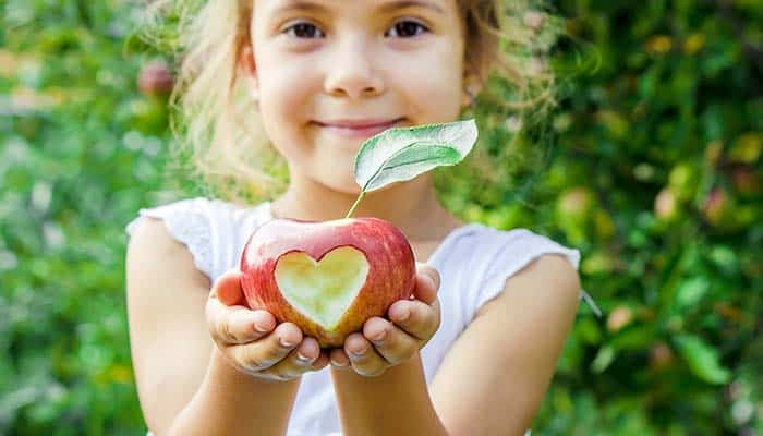 Child holding a carved apple